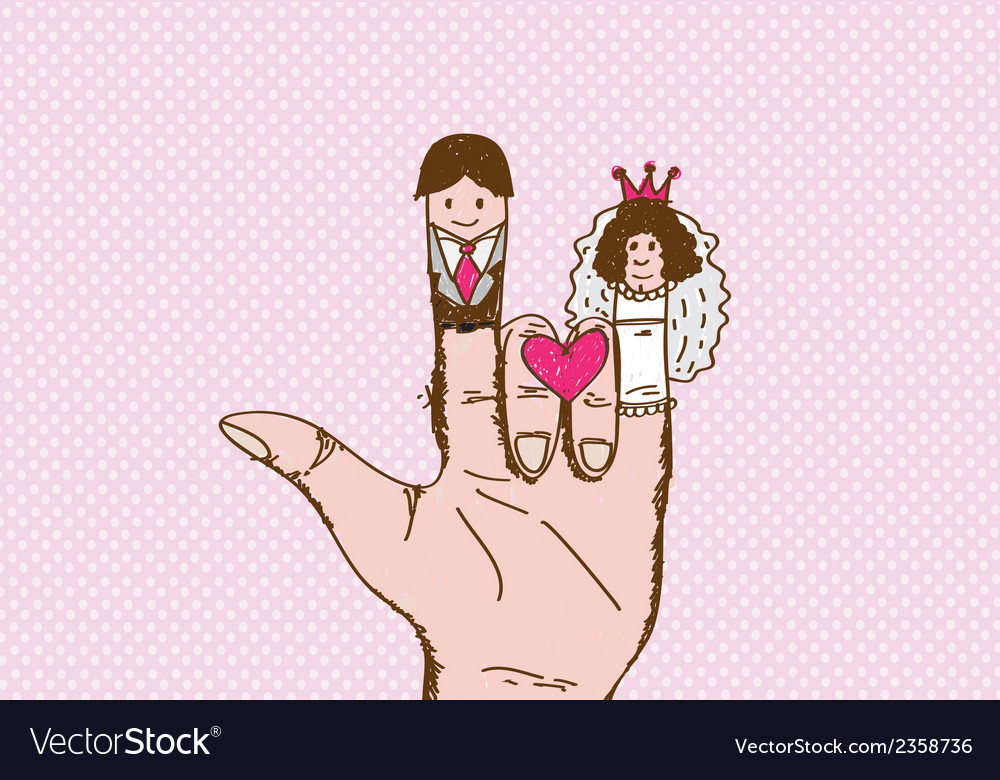 Cartoon hand drawn wedding couple wedding idea des vector | Price: 1 Credit (USD $1)