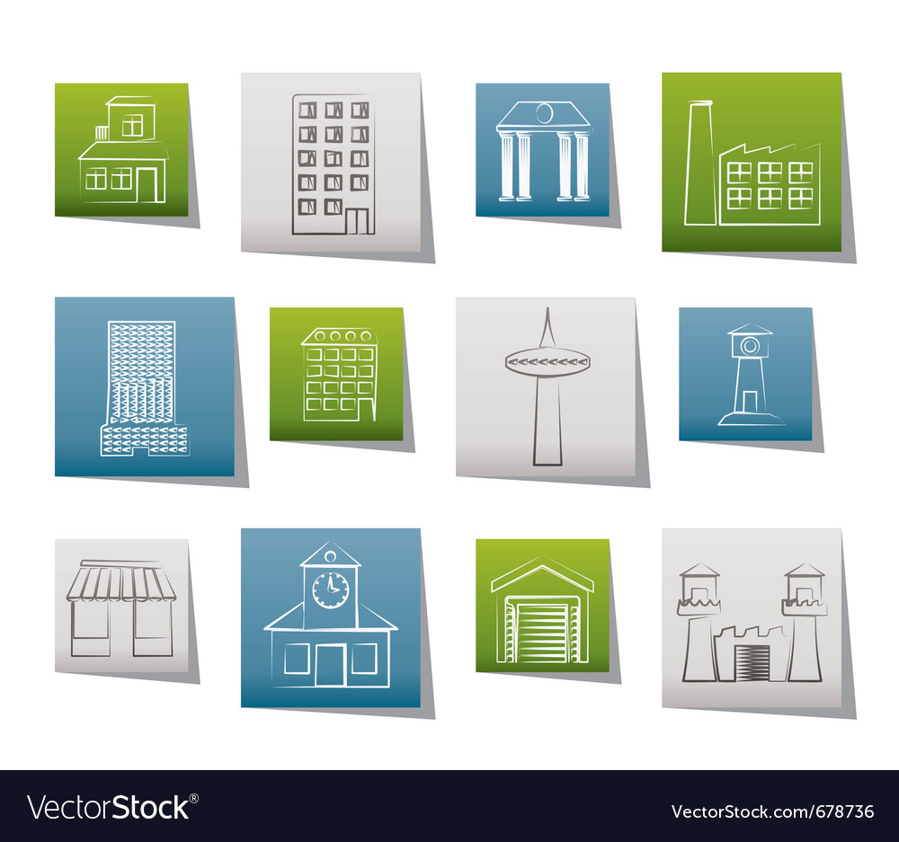 Different kind of building and city icons vector | Price: 1 Credit (USD $1)