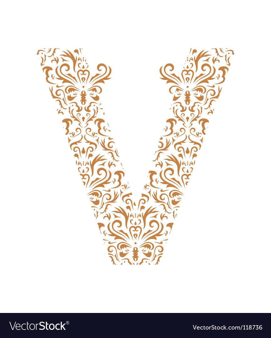 Floral letter v ornament font vector | Price: 1 Credit (USD $1)