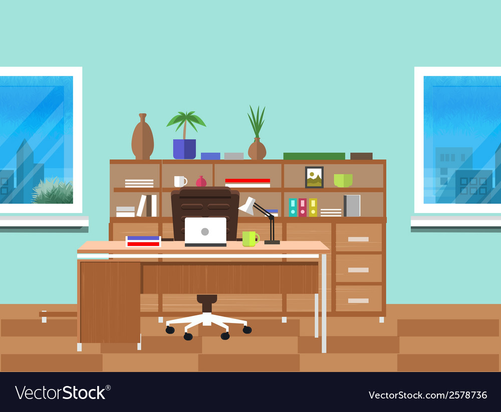Modern office interior with designer desktop vector | Price: 1 Credit (USD $1)