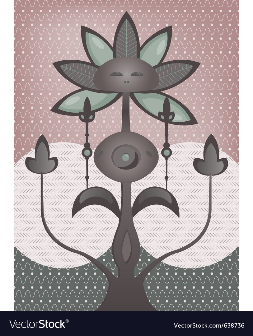 Psychedelic flower tree vector | Price: 1 Credit (USD $1)