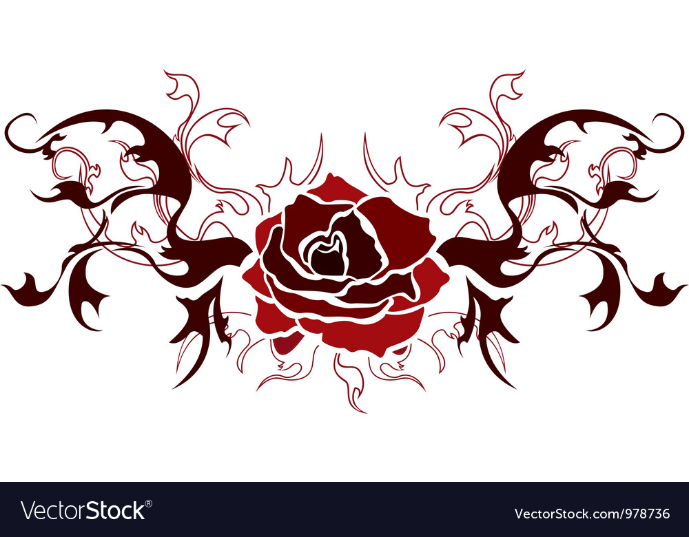 Red rose stencil vector | Price: 1 Credit (USD $1)