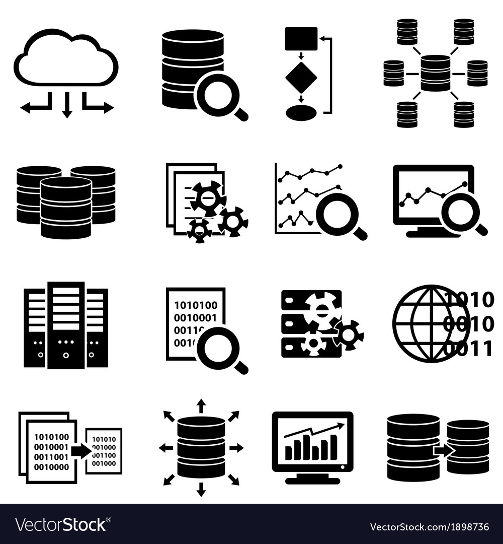 Set of data icons vector | Price: 1 Credit (USD $1)
