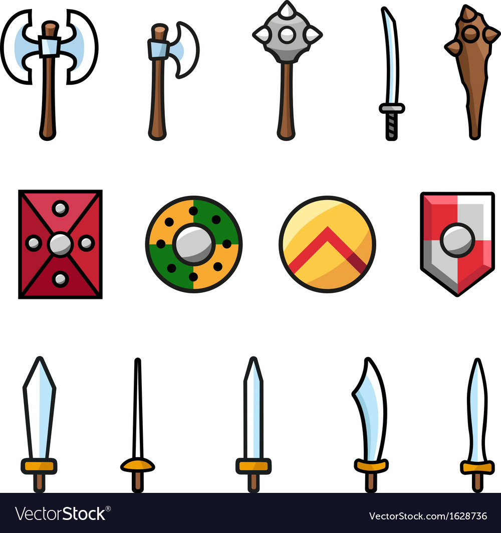 Set of different arms and shields vector | Price: 1 Credit (USD $1)