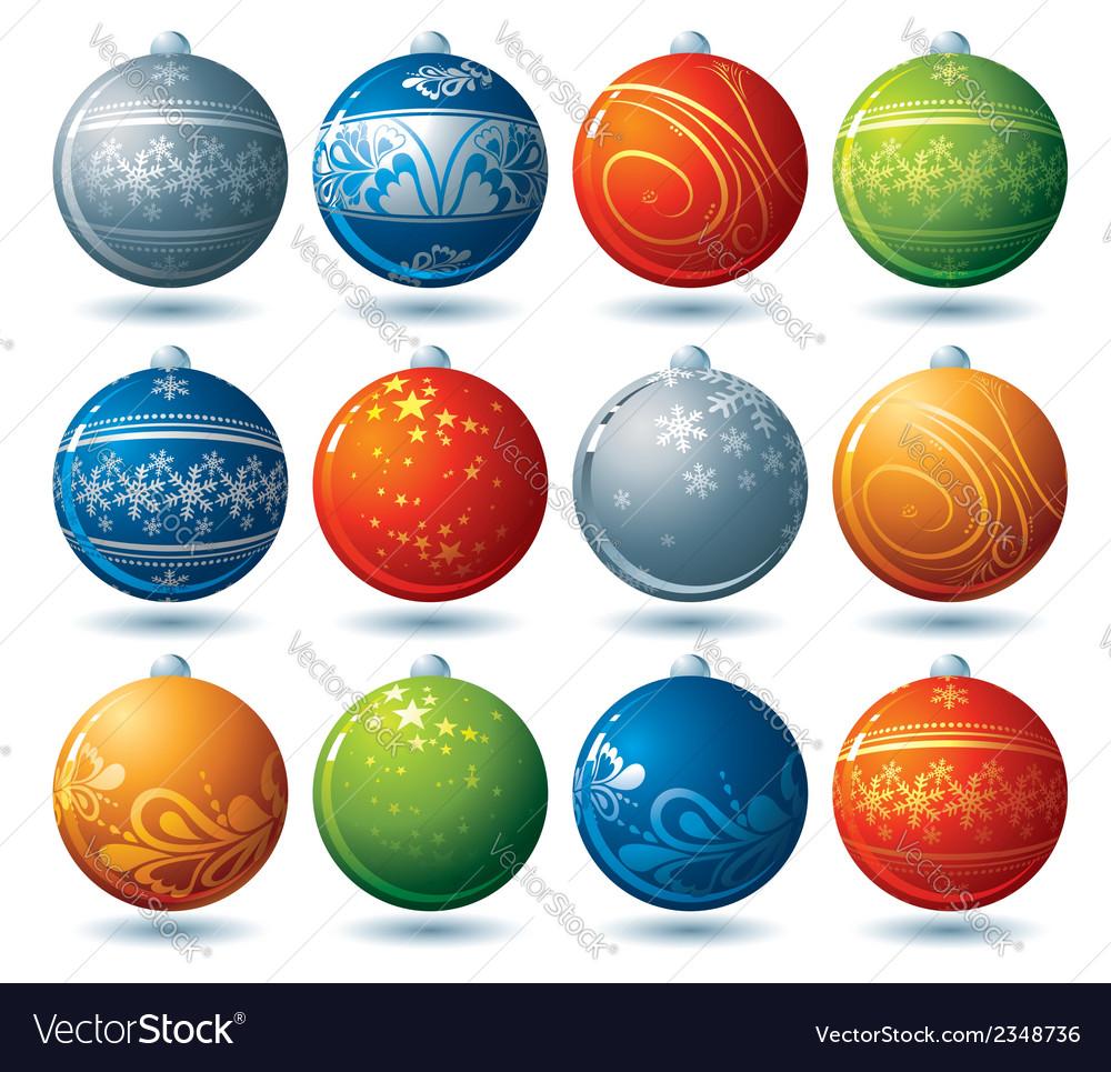 Twelve christmas ball vector | Price: 1 Credit (USD $1)