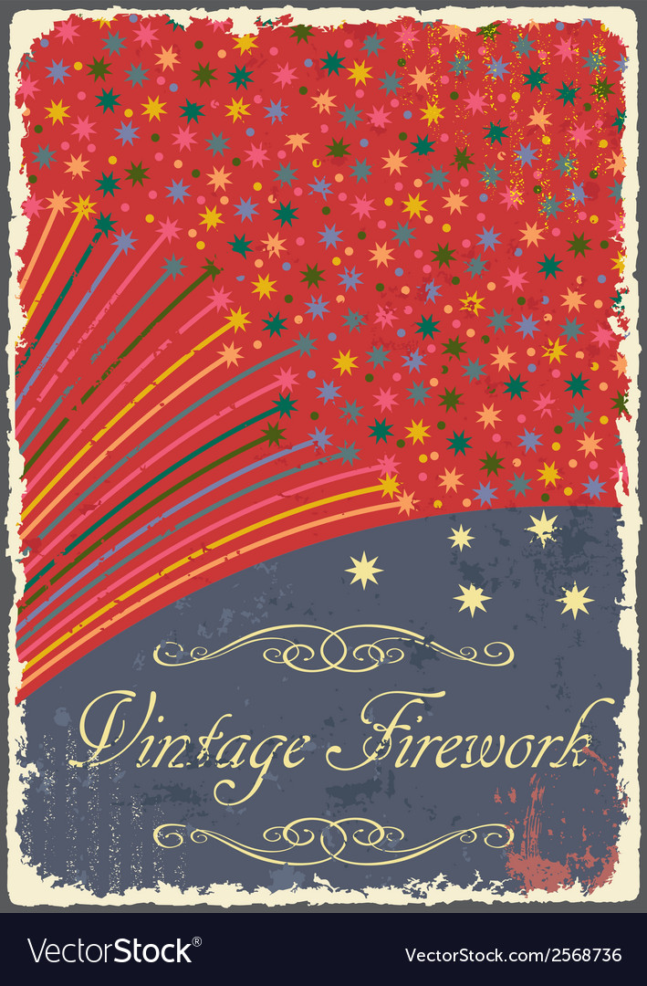 Vintage fireworks poster design retro flyer vector | Price: 1 Credit (USD $1)