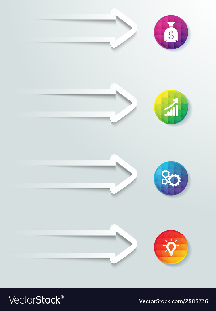 Web icon elements infographic arrows with buttons vector | Price: 1 Credit (USD $1)