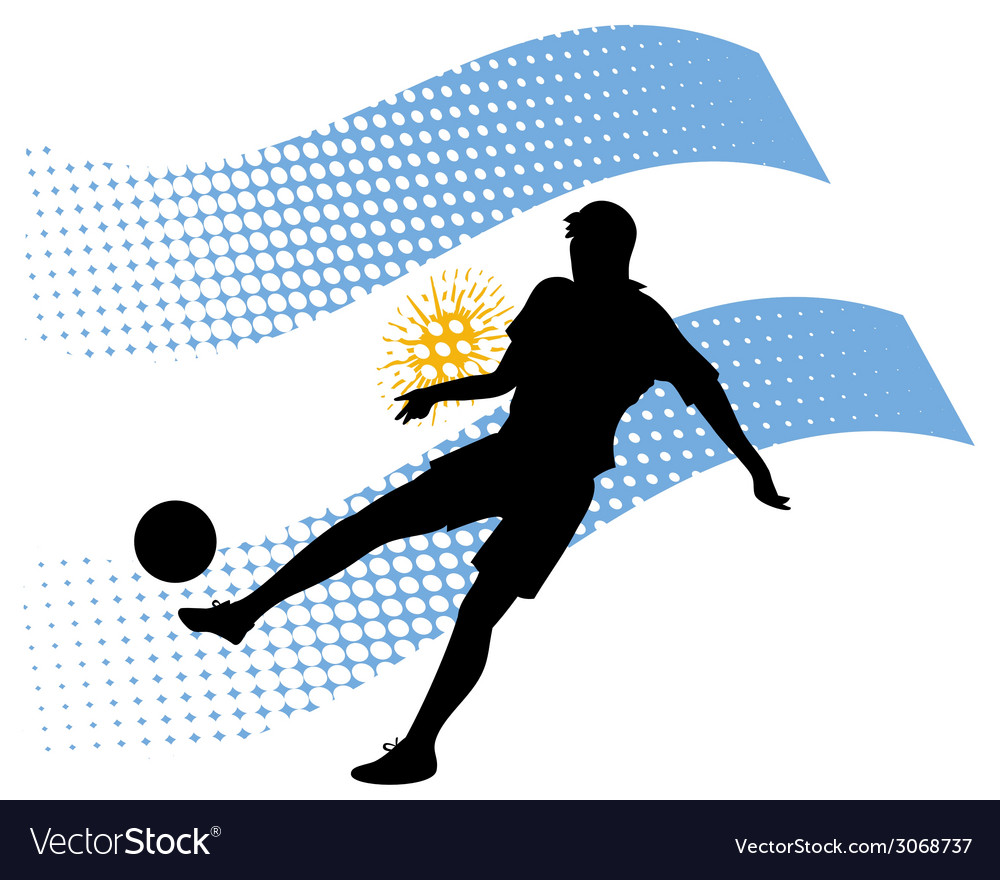 Argentina soccer player against national flag vector | Price: 1 Credit (USD $1)