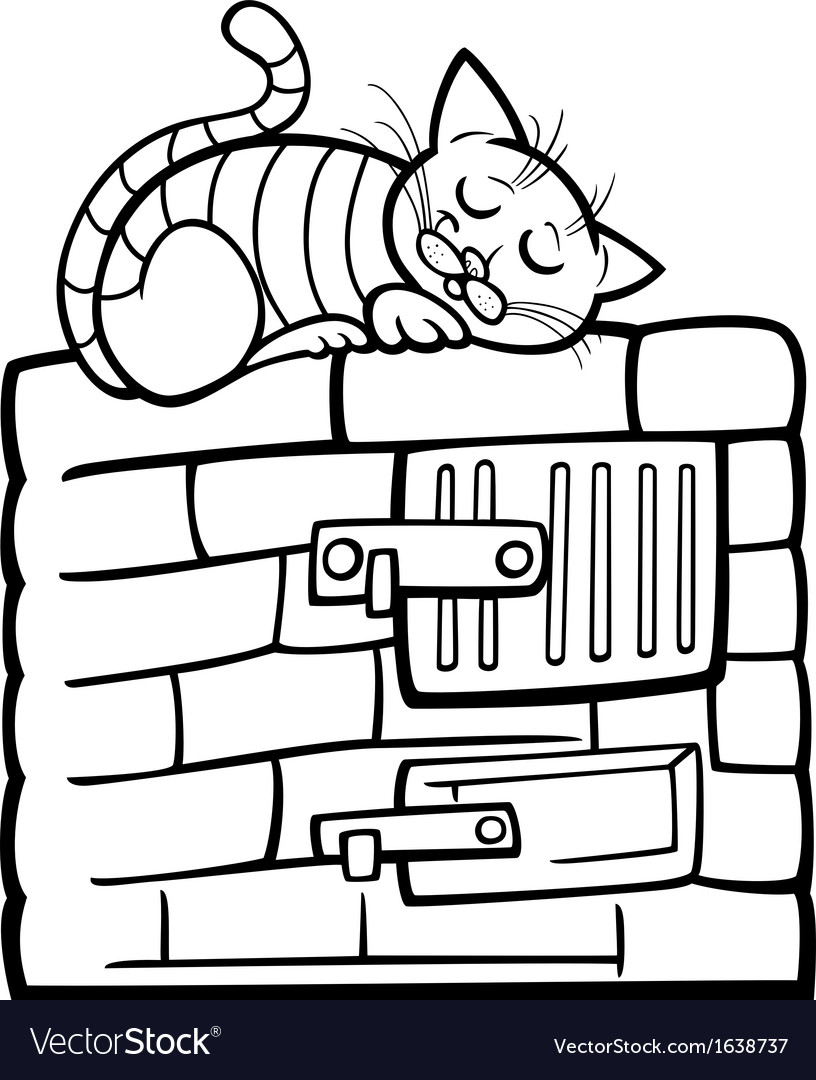 Cat on stove cartoon coloring page vector | Price: 1 Credit (USD $1)