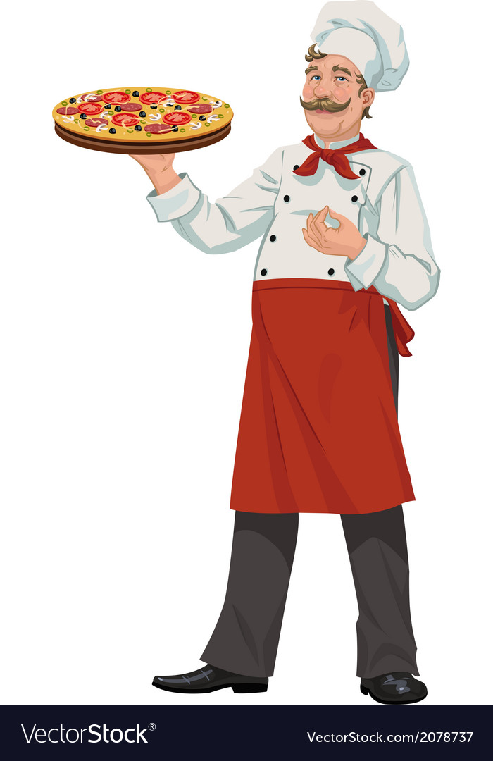Chef with fresh pizza - vector | Price: 1 Credit (USD $1)