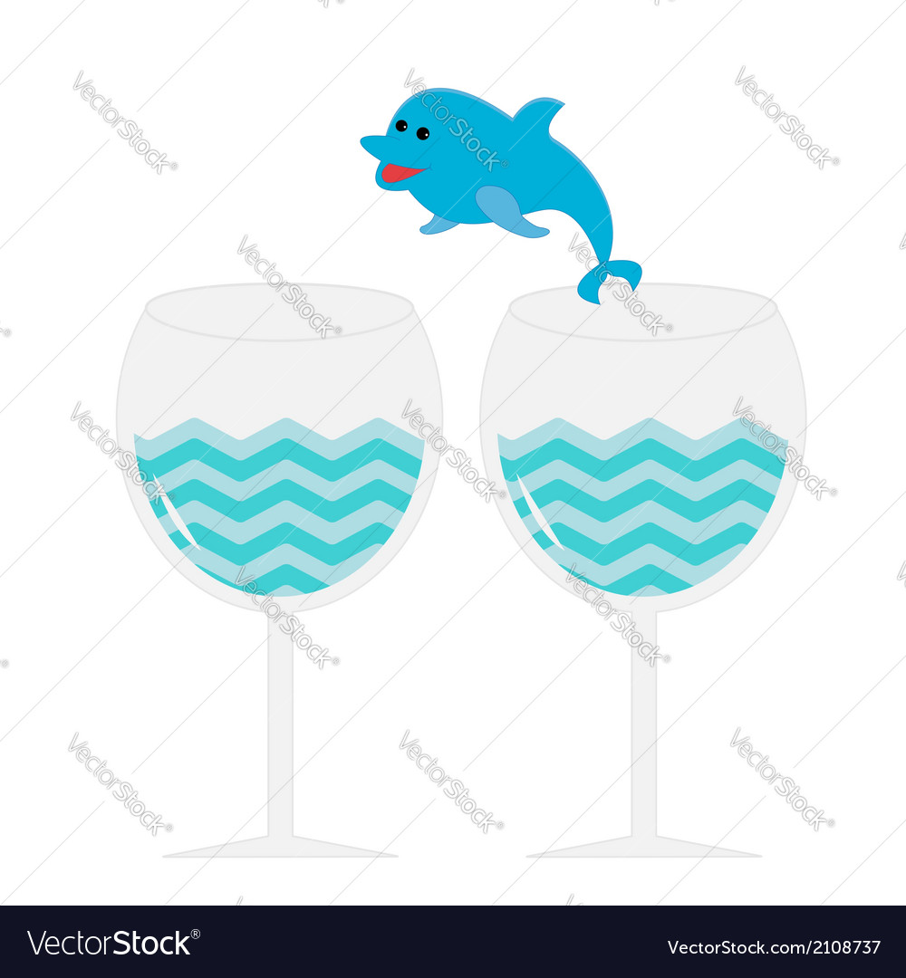 Cocktail drink glasses and jumping dolphin isolate vector | Price: 1 Credit (USD $1)