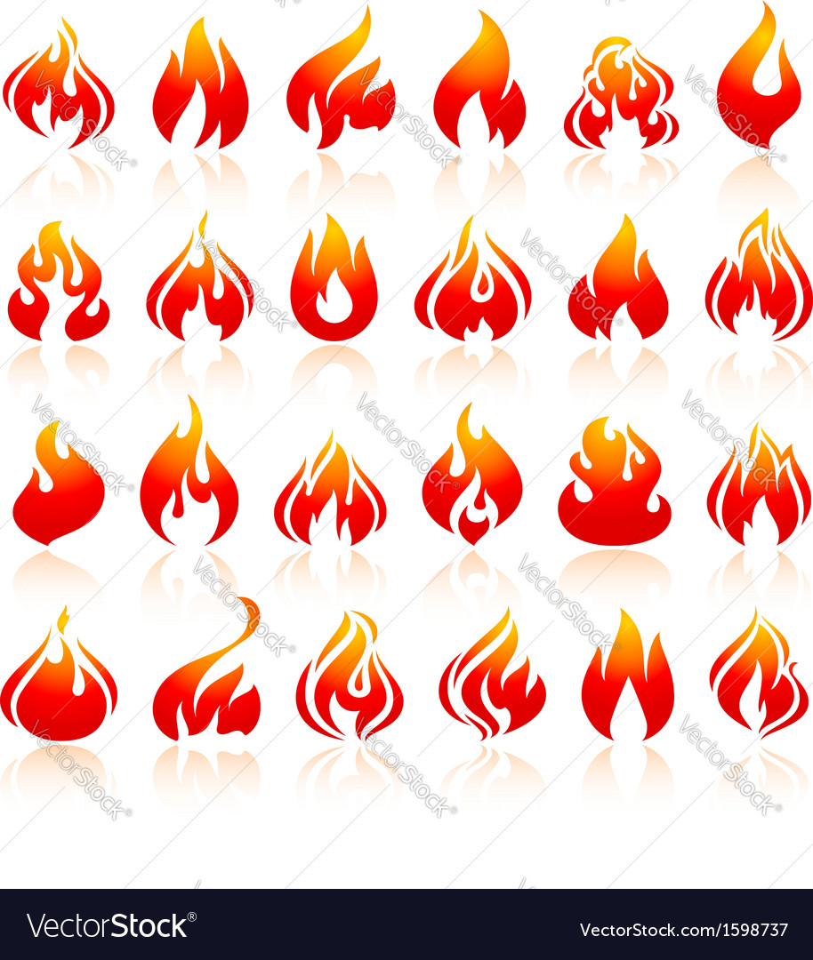 Fire flames set orange icons with reflection vector | Price: 1 Credit (USD $1)