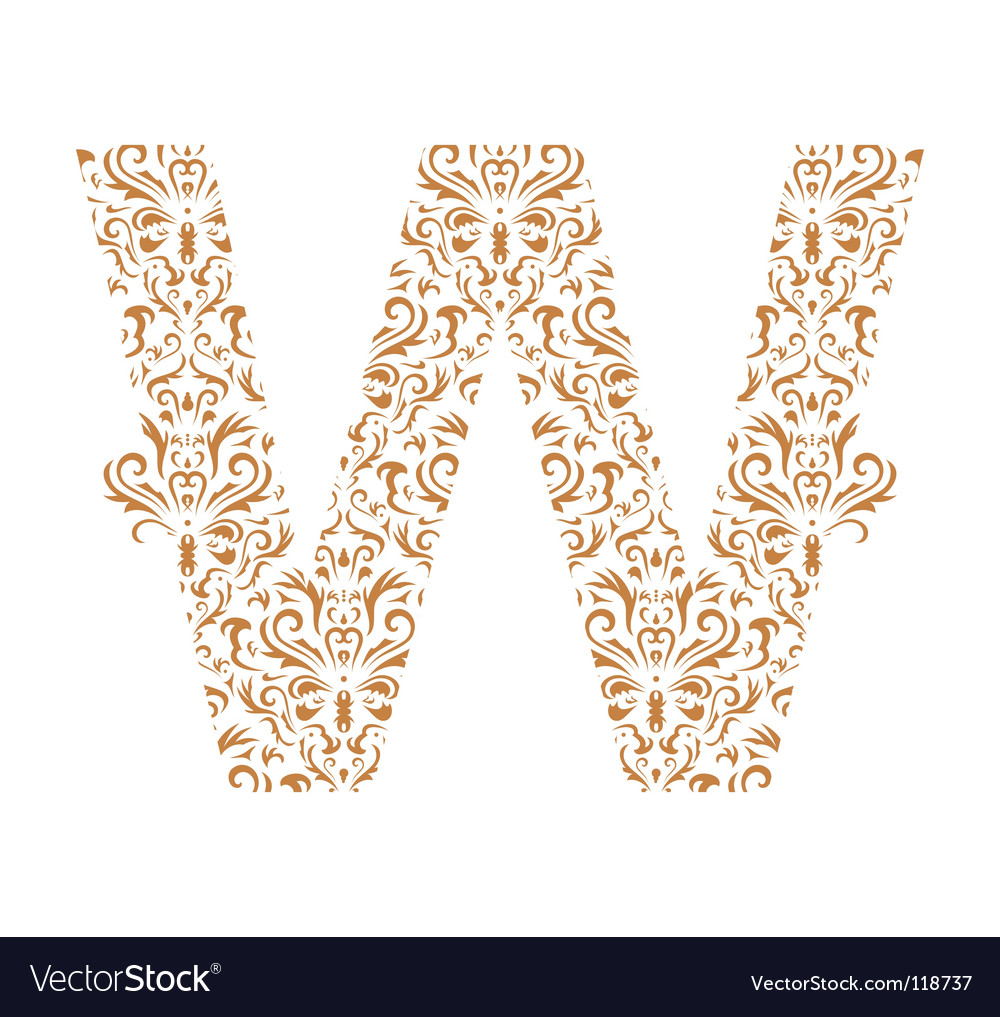 Floral letter w ornament font vector | Price: 1 Credit (USD $1)
