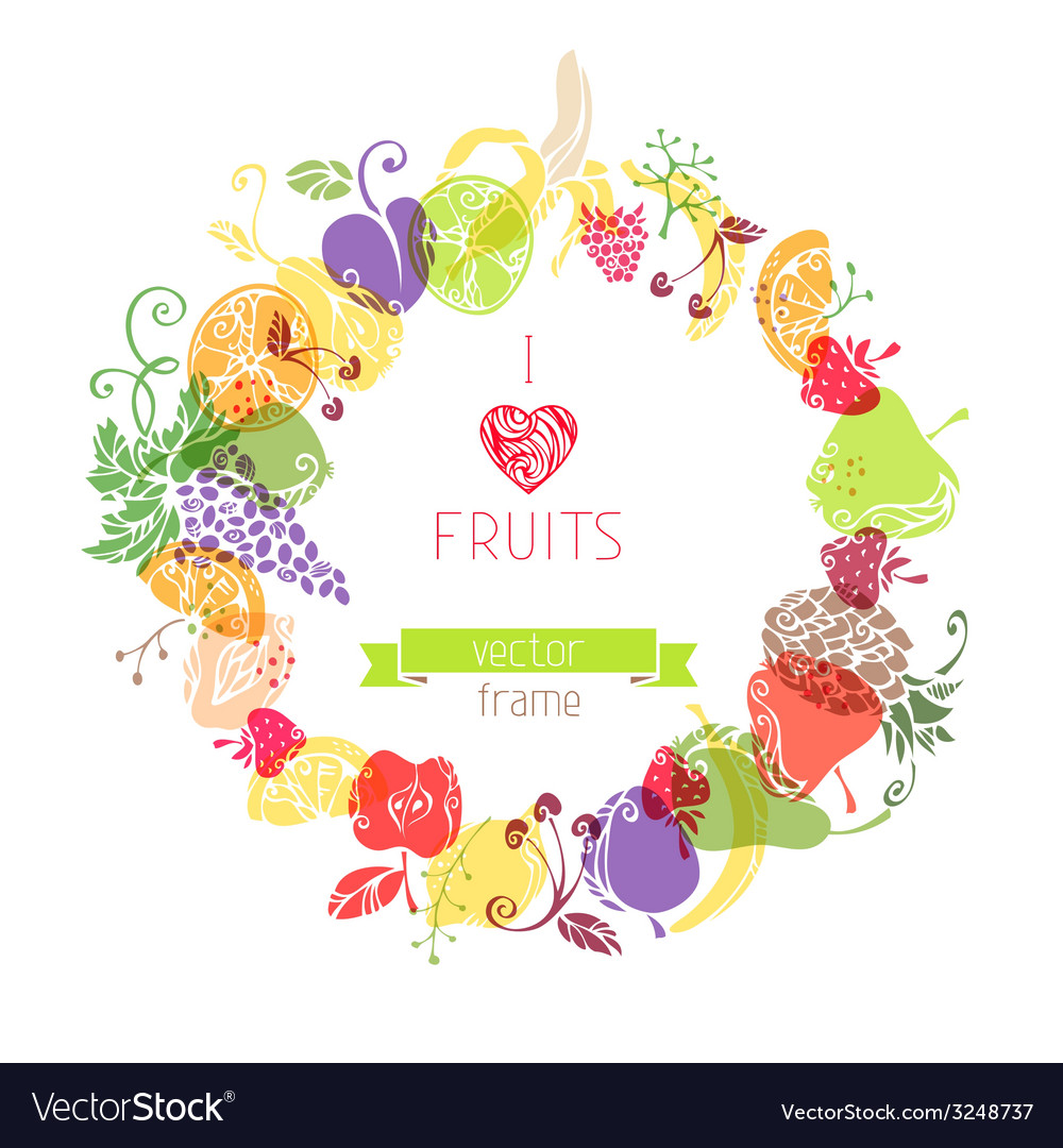 Fruits in the circle on white background vector | Price: 1 Credit (USD $1)
