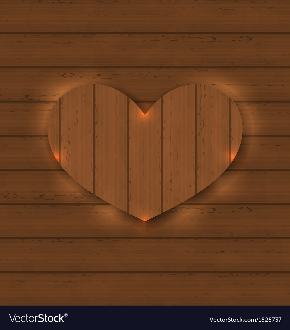 Heart for valentine day on wooden texture vector | Price: 1 Credit (USD $1)