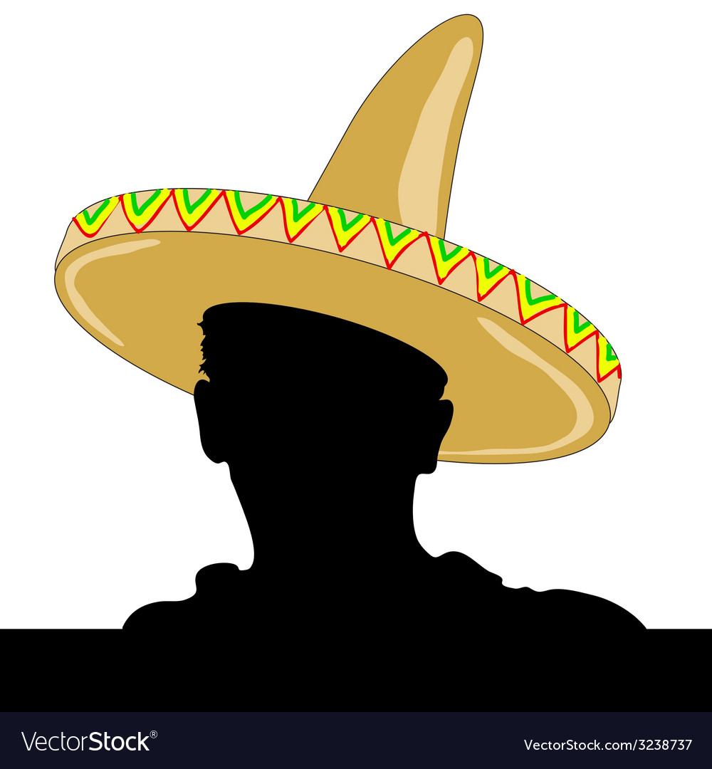 Mexican man silhouette with sombrero vector | Price: 1 Credit (USD $1)
