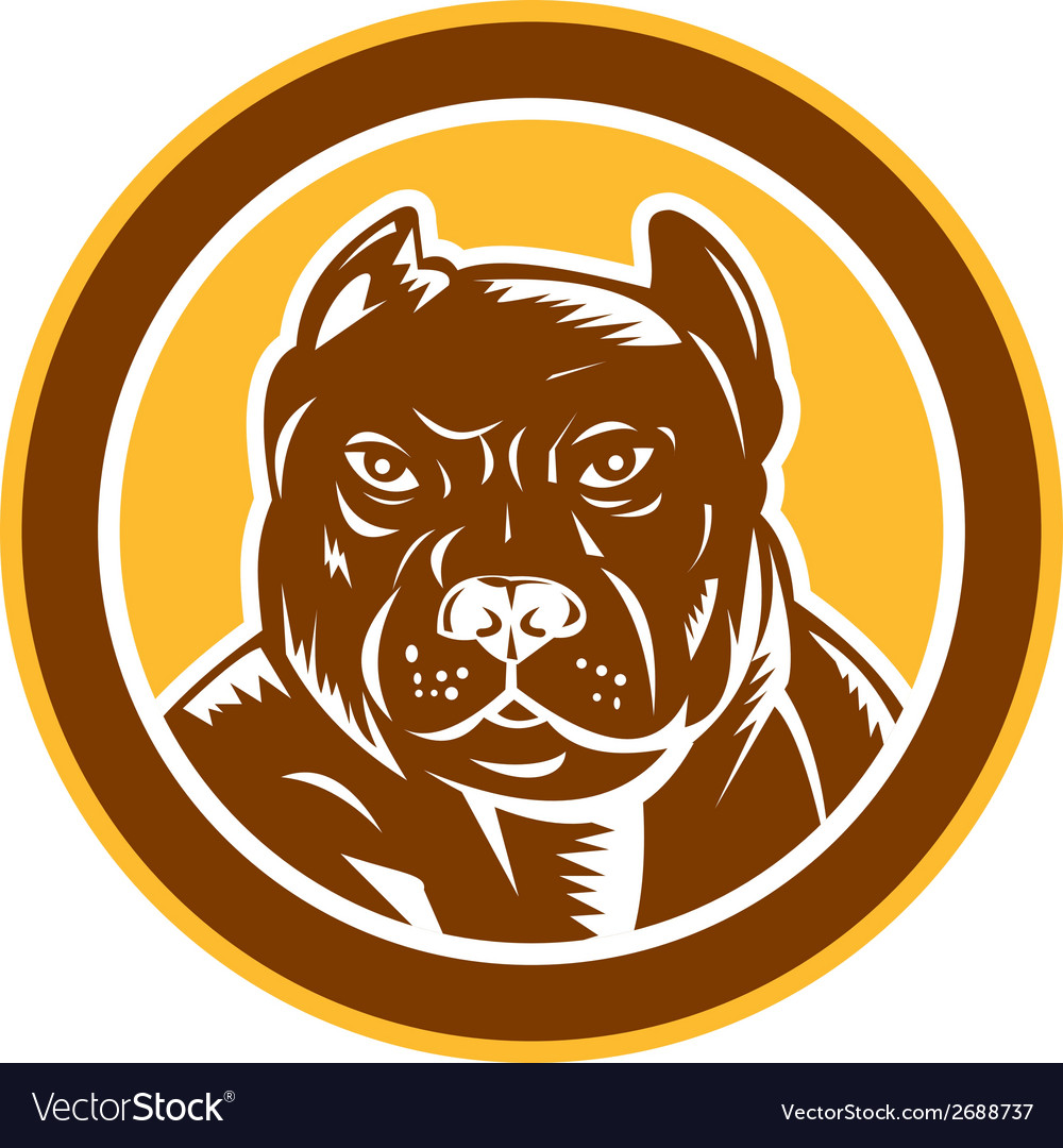 Pitbull dog mongrel head circle woodcut vector | Price: 1 Credit (USD $1)