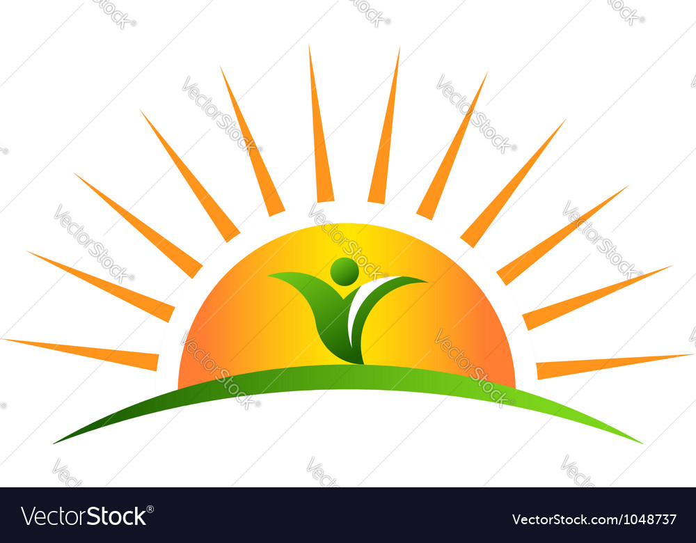 Plant in sunrise logo vector | Price: 1 Credit (USD $1)