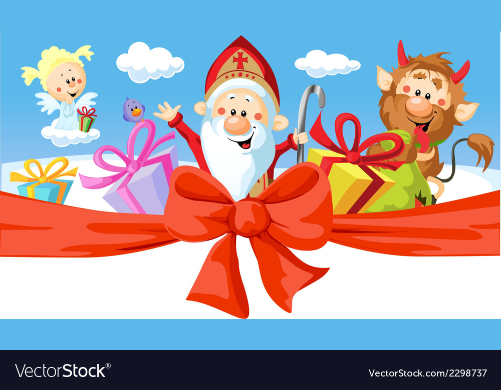 Saint nicholas devil and angel - isolated o vector | Price: 1 Credit (USD $1)