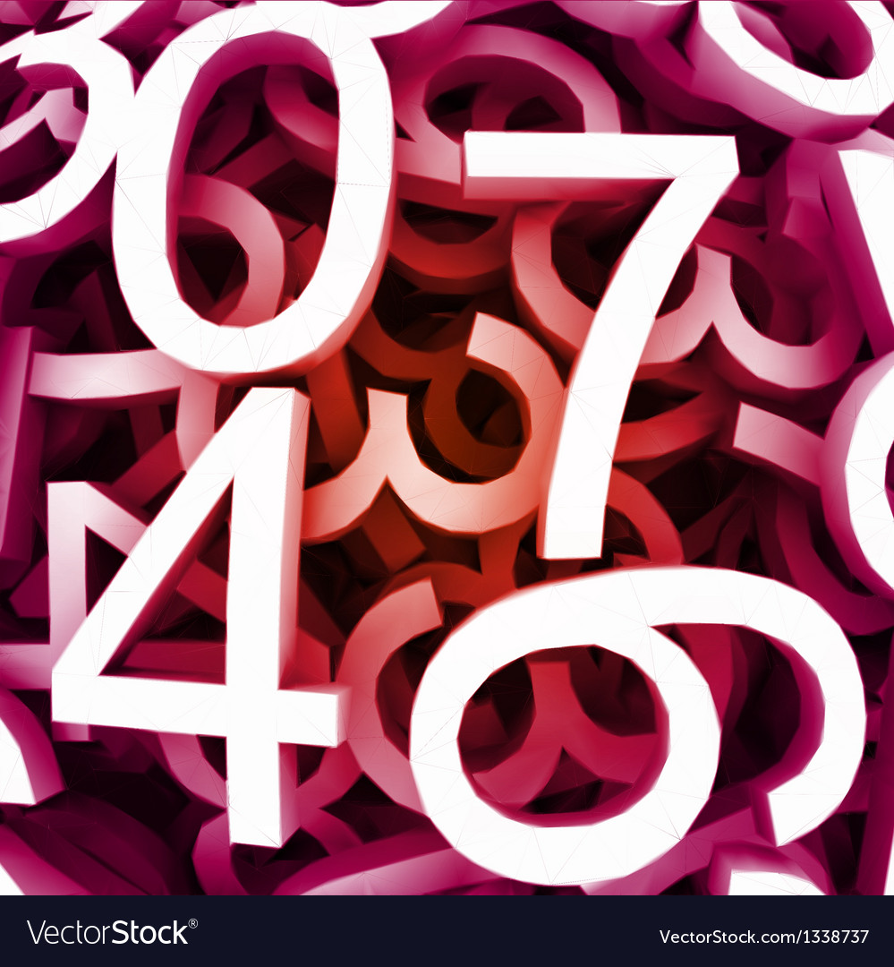Set of digital numbers red background vector | Price: 1 Credit (USD $1)