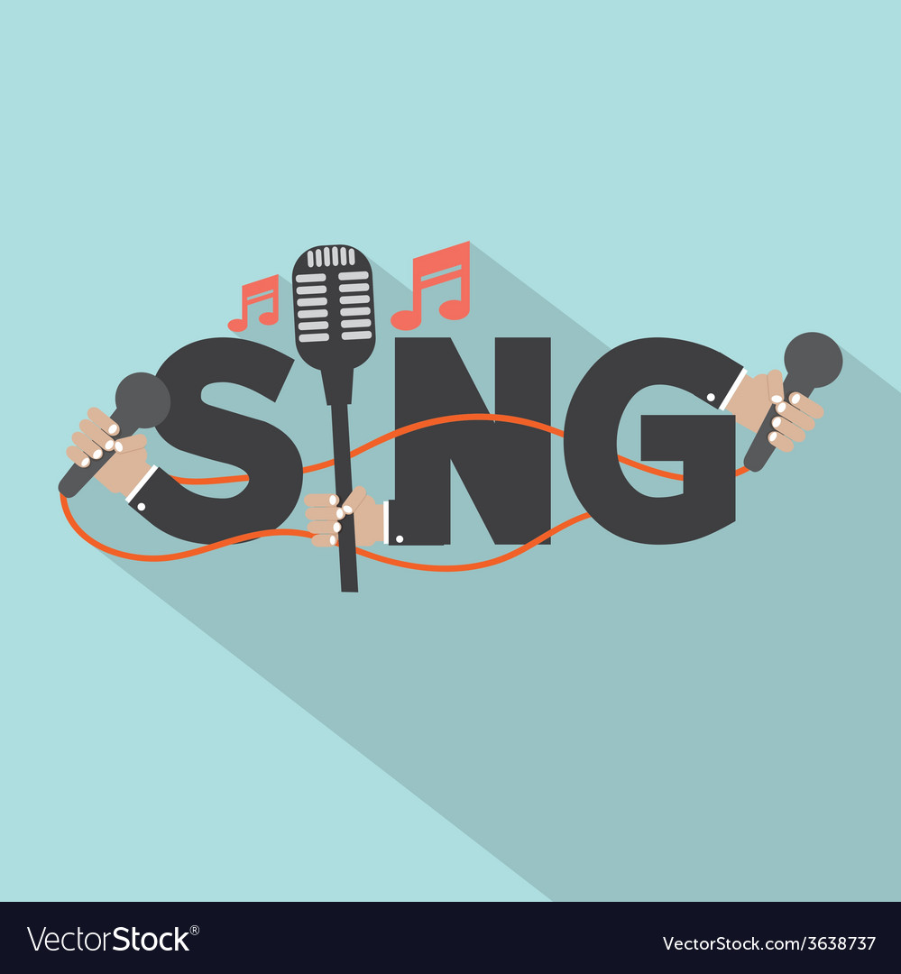Sing typography with microphones design vector | Price: 1 Credit (USD $1)