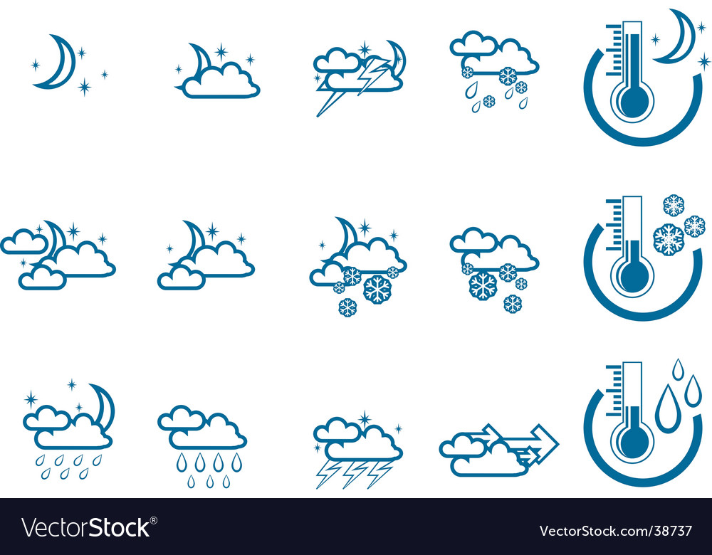 Weather forecast icon set vector | Price: 1 Credit (USD $1)