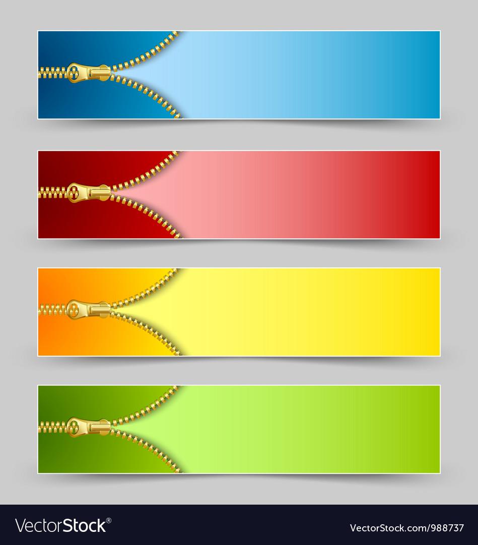 Zipper banners vector | Price: 1 Credit (USD $1)
