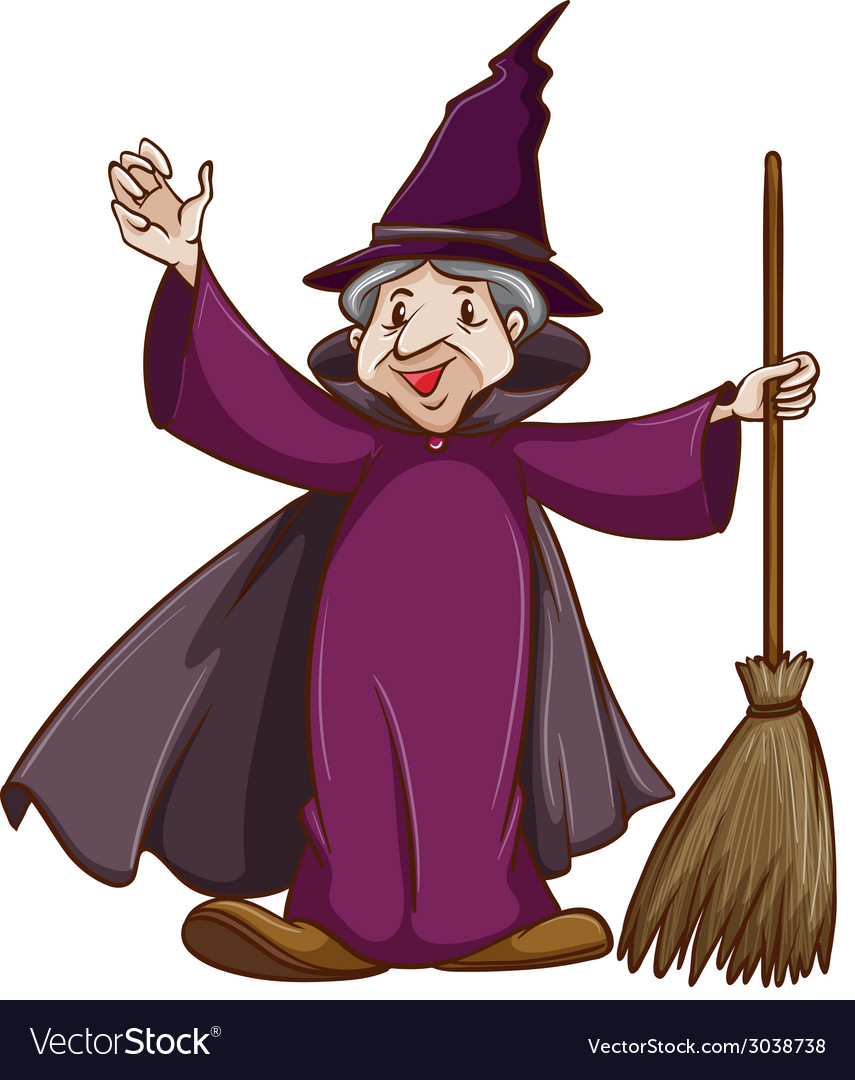A coloured sketch of a witch with a broom vector | Price: 1 Credit (USD $1)