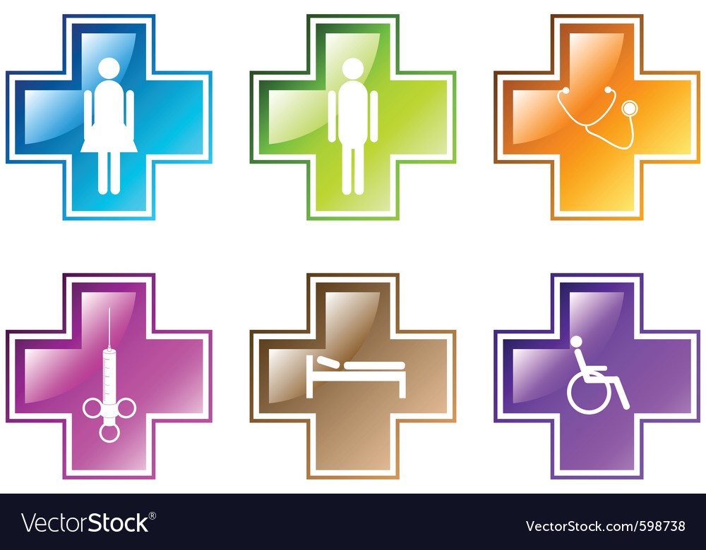 Medical symbols in various colors vector   Price: 1 Credit (USD $1)