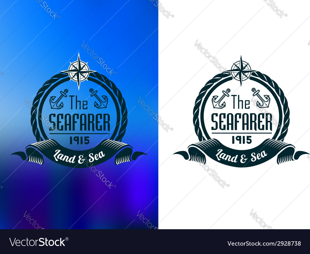 Retro seafarer tattoo or marine banner vector | Price: 1 Credit (USD $1)