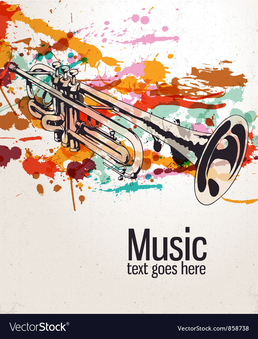 Retro splatter music background vector | Price: 1 Credit (USD $1)