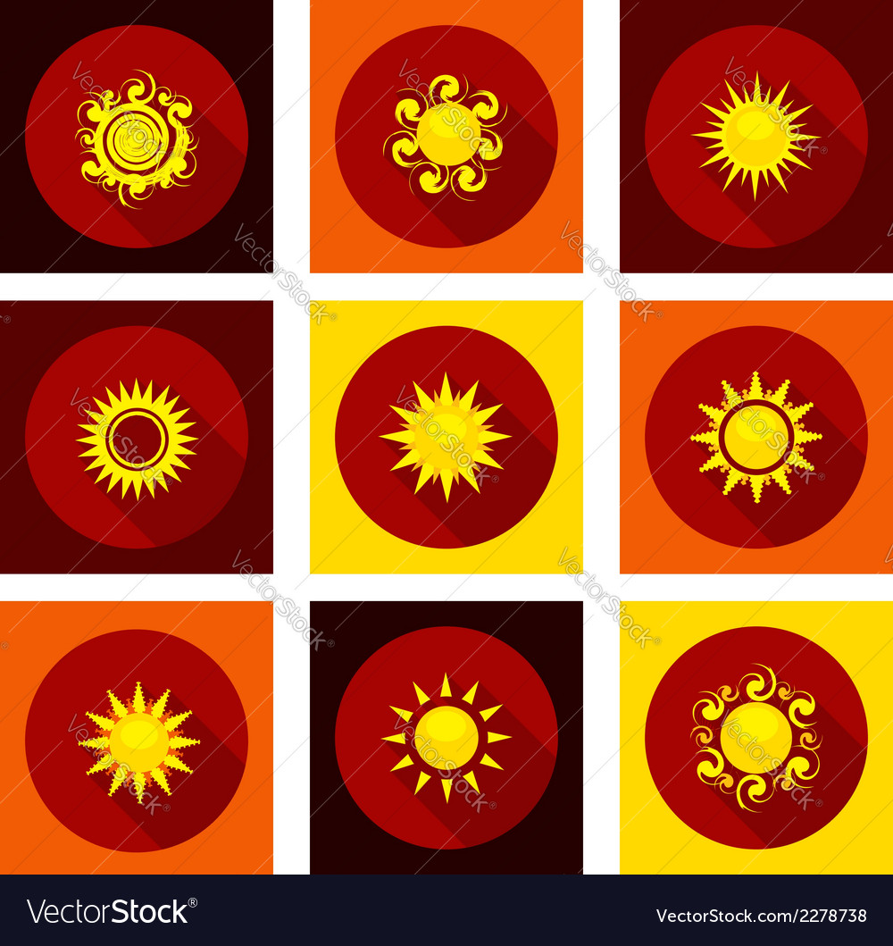 Sun icons set in flat style vector | Price: 1 Credit (USD $1)