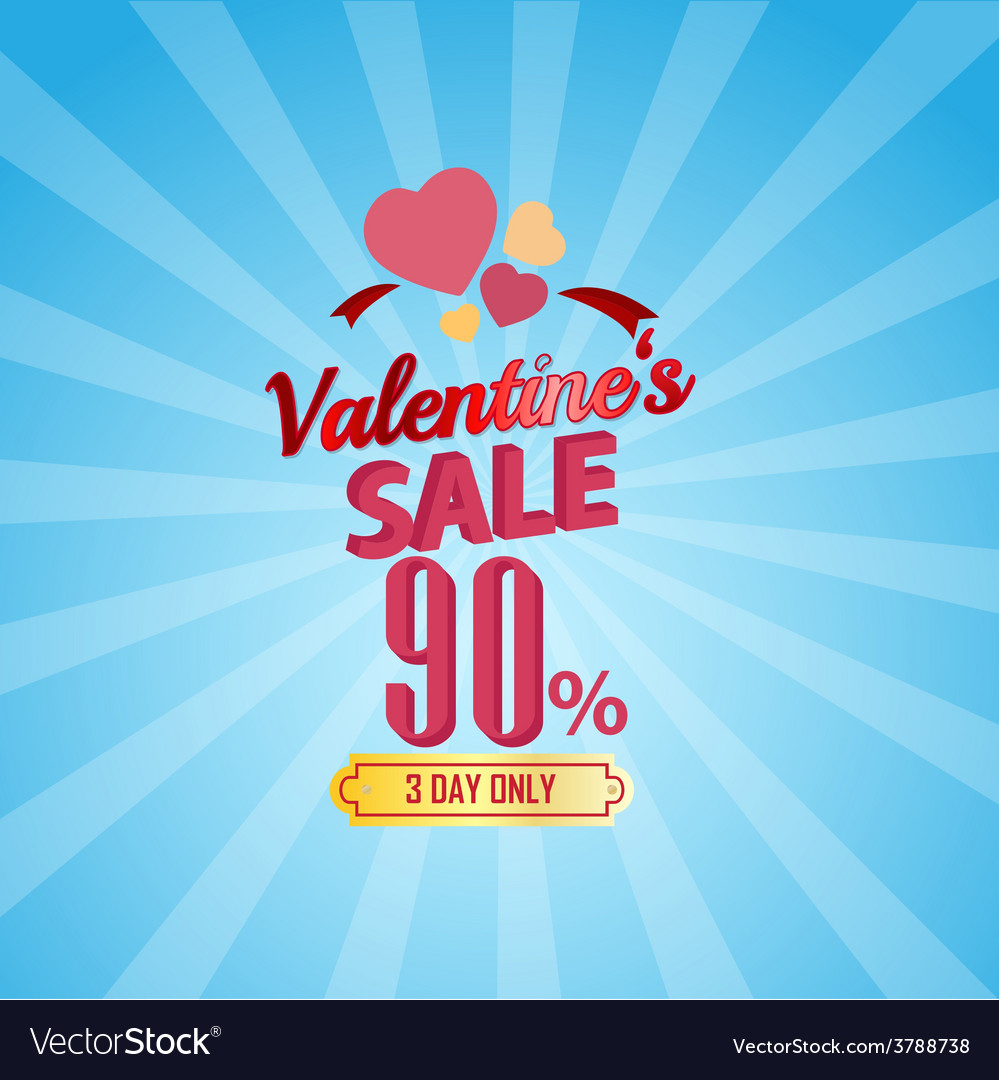 Valentines day sale 90 percent typographic vector | Price: 1 Credit (USD $1)