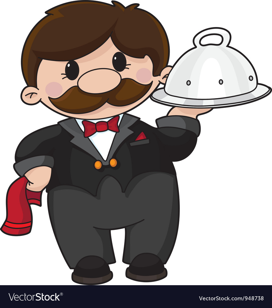 Waiter with tray vector | Price: 3 Credit (USD $3)