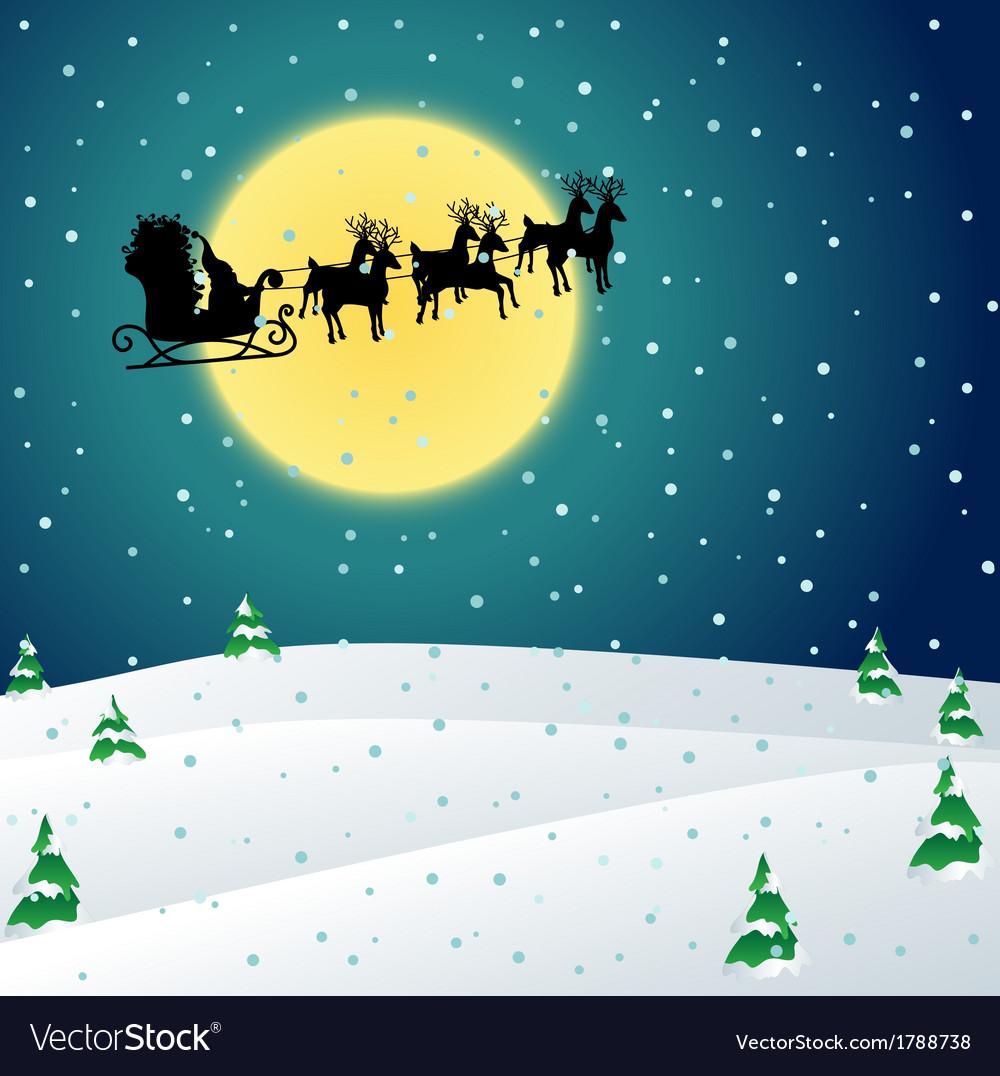 Winter night with santa sleigh vector | Price: 1 Credit (USD $1)