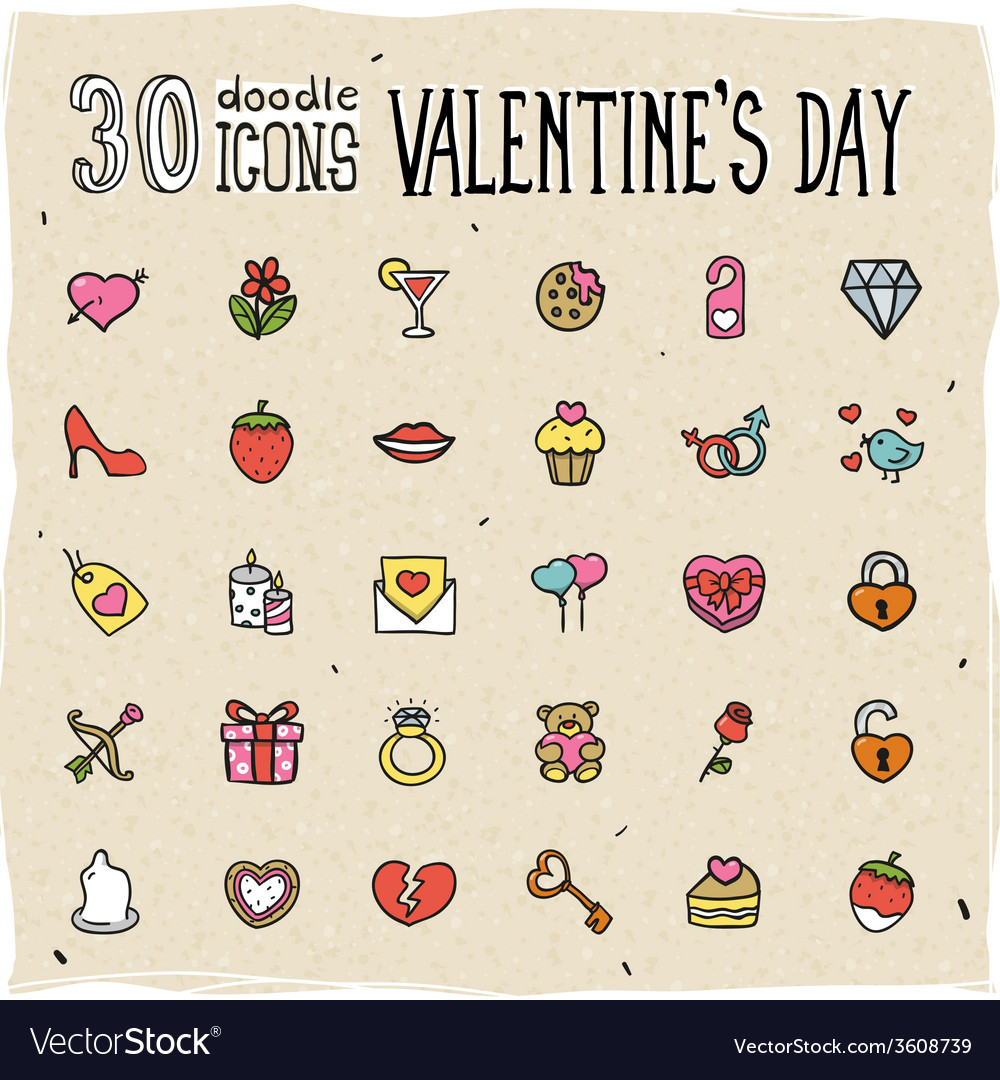 30 colorful doodle valentines day icons vector | Price: 1 Credit (USD $1)