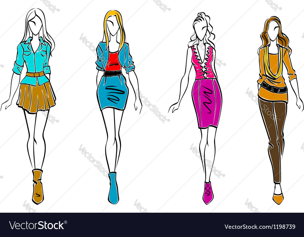 Fashion models in casual clothing vector | Price: 1 Credit (USD $1)