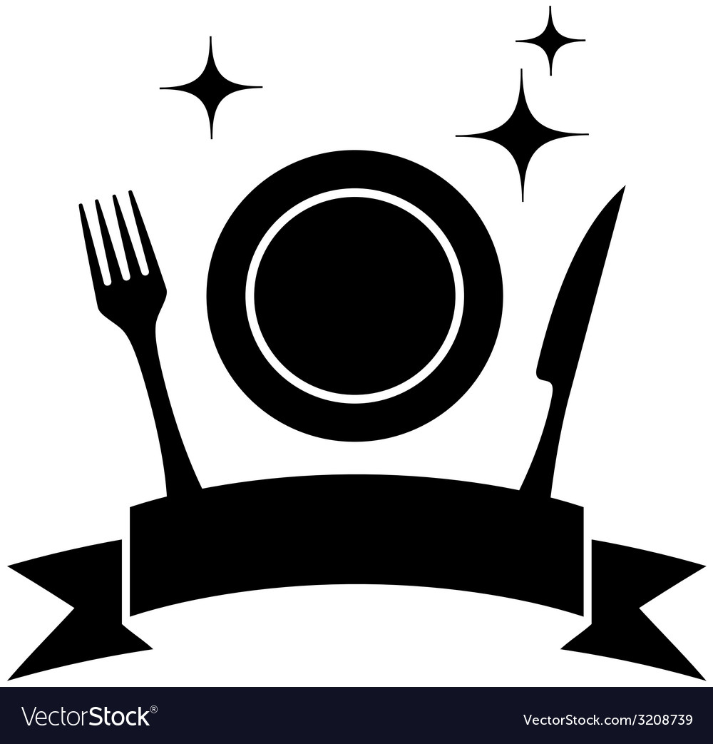 Food icon with plate and kitchen utensil vector | Price: 1 Credit (USD $1)