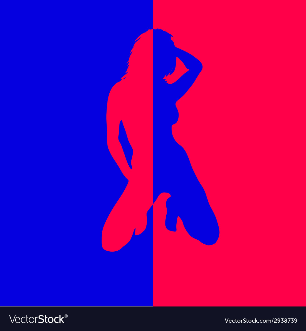 Girl in two color blue and red vector | Price: 1 Credit (USD $1)