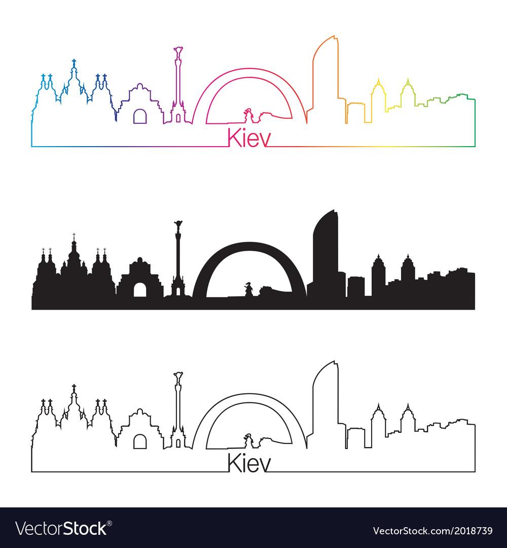 Kiev skyline linear style with rainbow vector | Price: 1 Credit (USD $1)