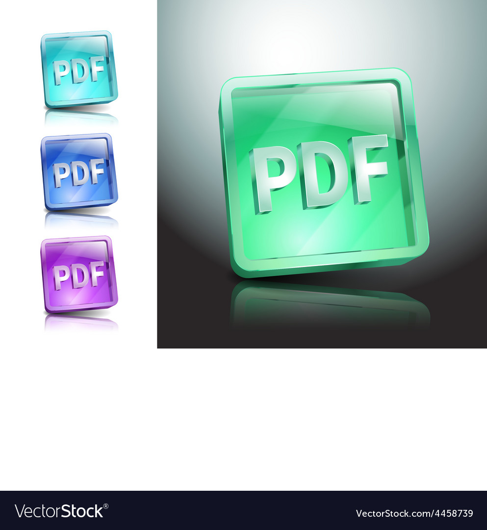 Pdf icon button internet document file vector | Price: 1 Credit (USD $1)