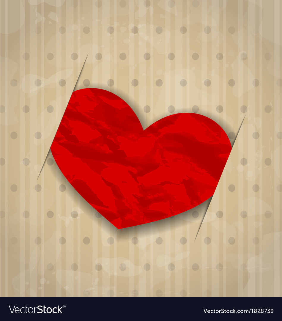 Red crumpled paper heart for valentine day vector | Price: 1 Credit (USD $1)