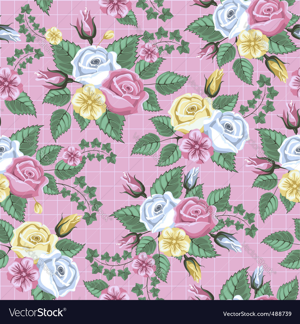 Retro flower seamless pattern roses vector | Price: 1 Credit (USD $1)