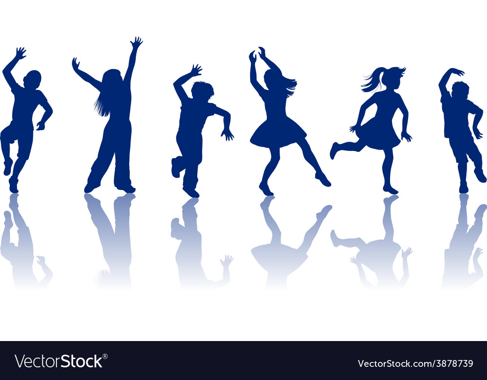 Silhouettes of little boys and girls vector   Price: 1 Credit (USD $1)