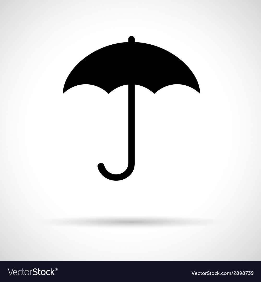 Umbrella black flat icon with shadow vector | Price: 1 Credit (USD $1)
