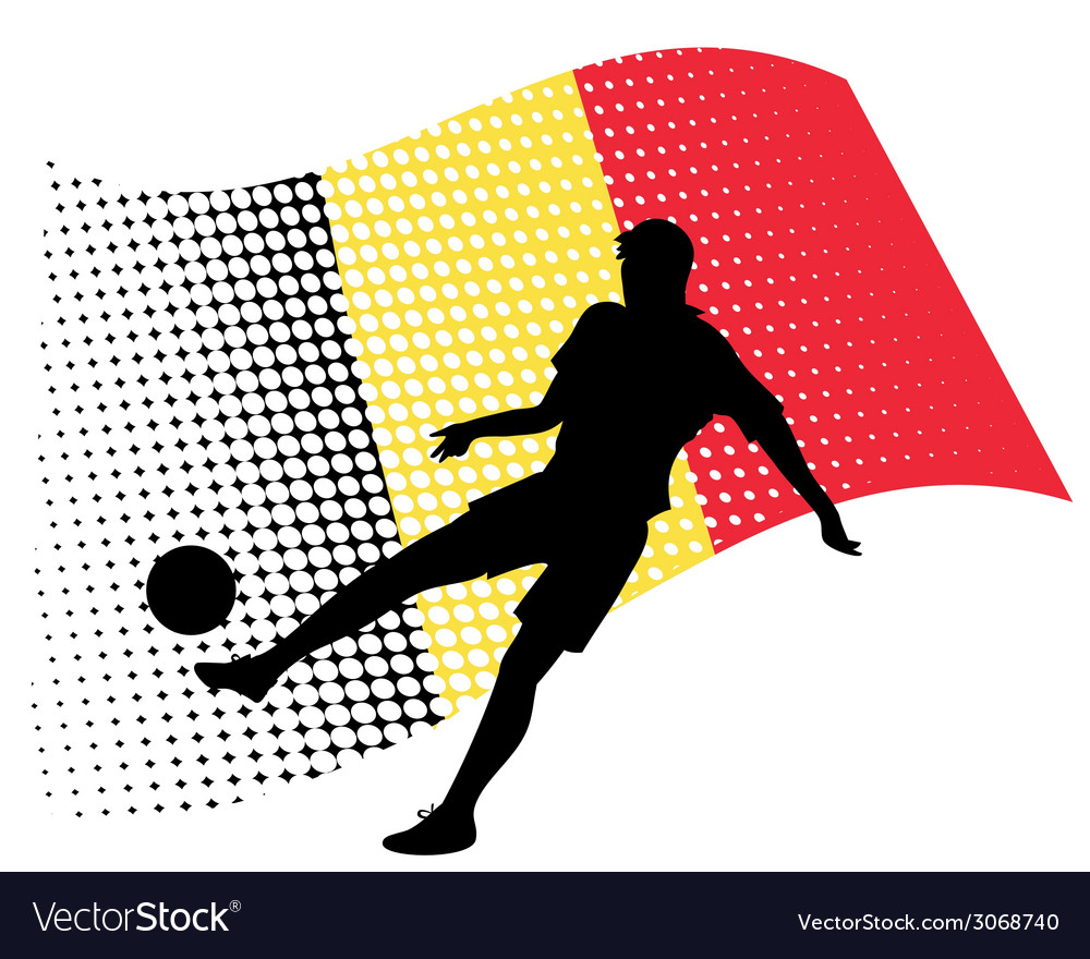 Belgium soccer player against national flag vector | Price: 1 Credit (USD $1)