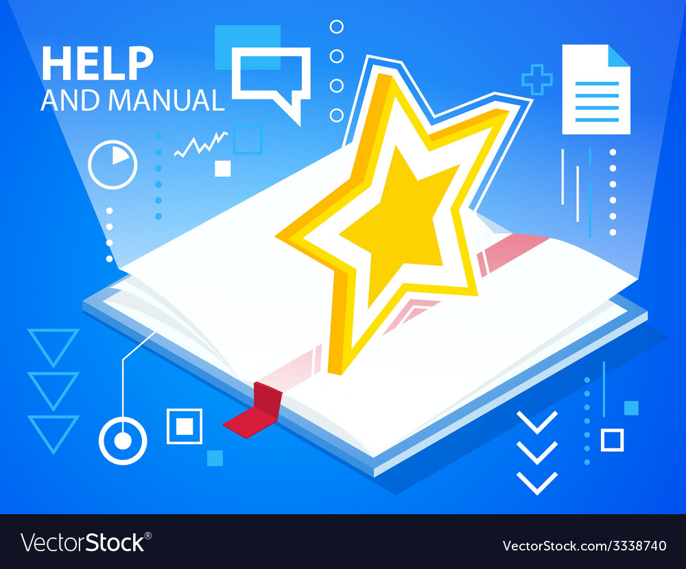 Bright manual book of star on blue backgroun vector | Price: 3 Credit (USD $3)