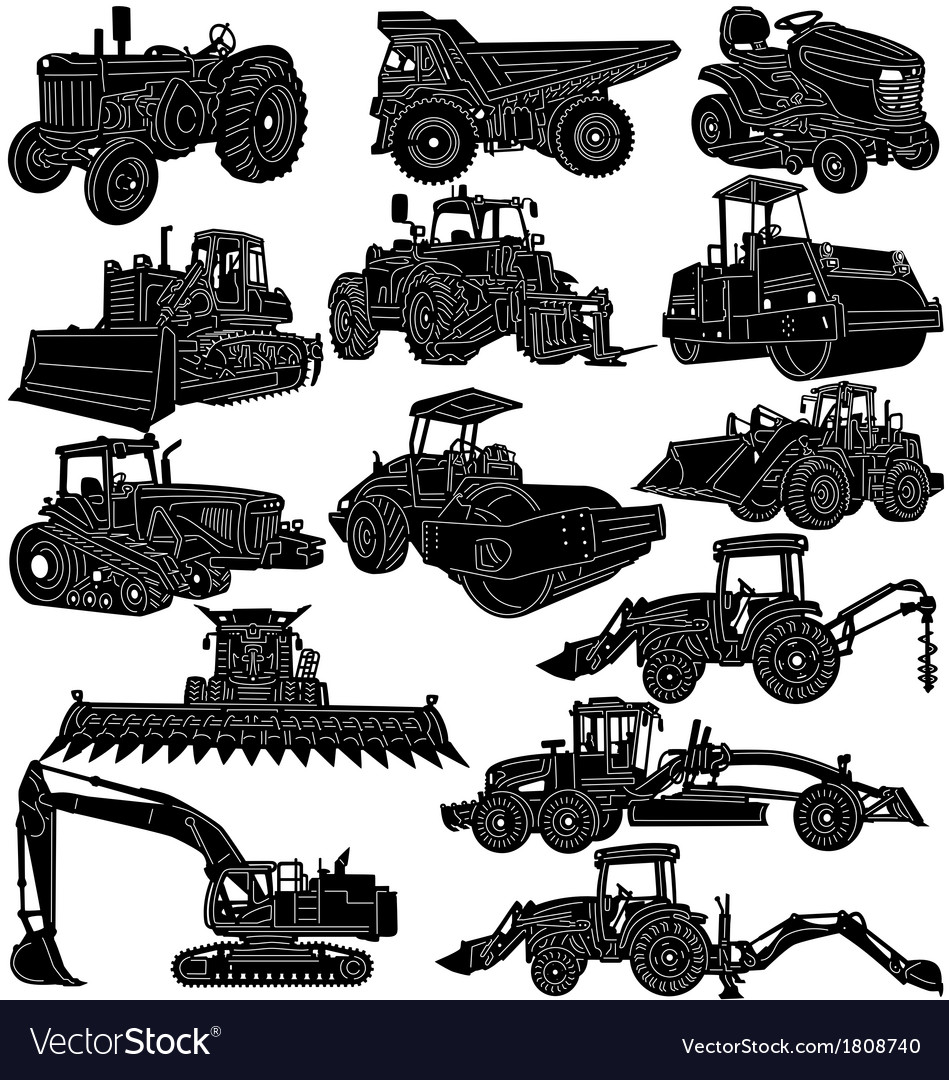 Building and farm equipments detailed silhouette vector | Price: 1 Credit (USD $1)