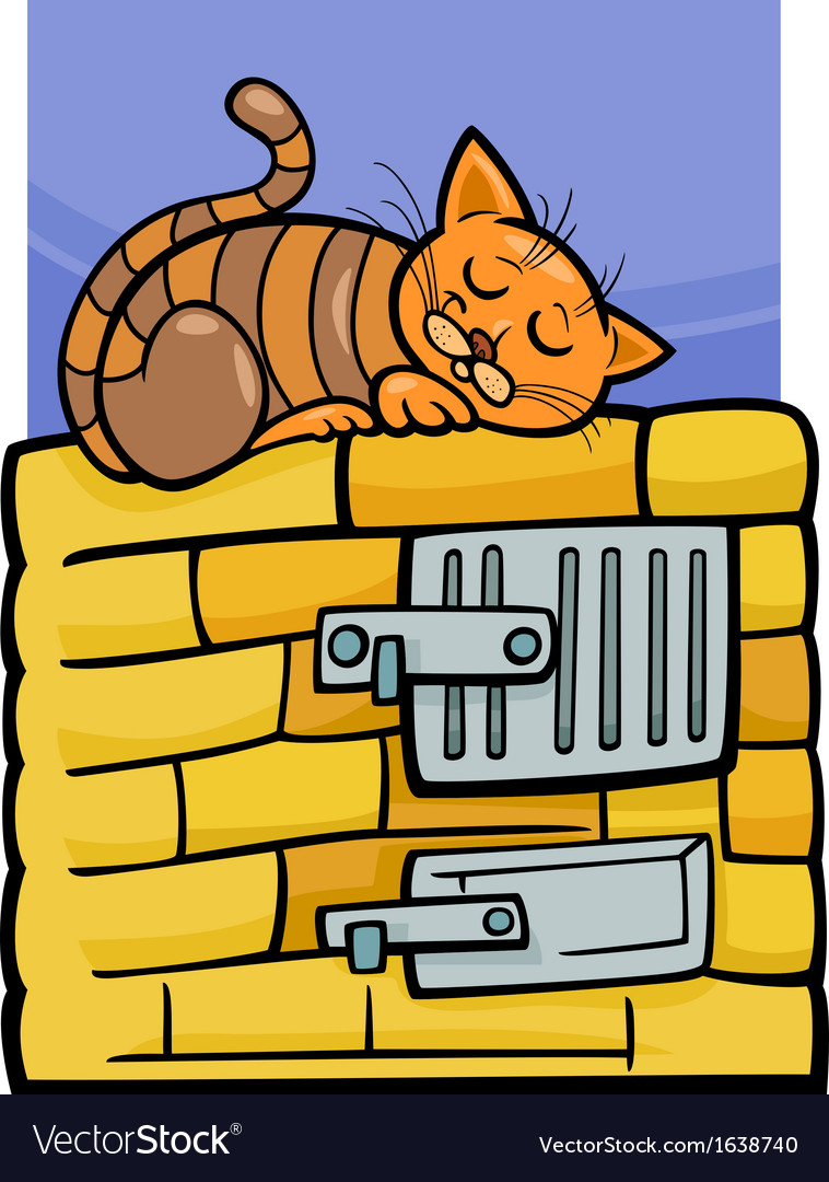 Cat on stove cartoon vector | Price: 1 Credit (USD $1)