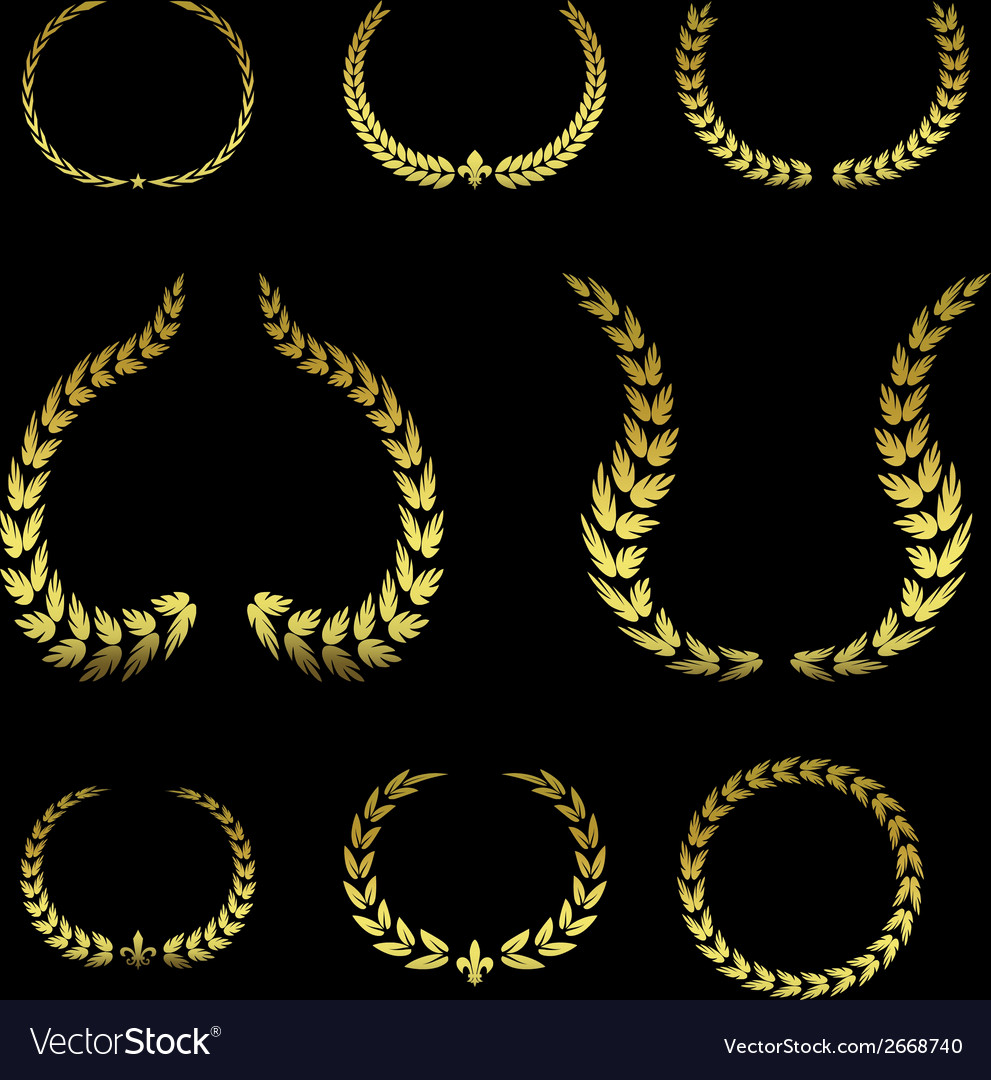 Collection of golden laurel leaves vol 2 vector | Price: 1 Credit (USD $1)
